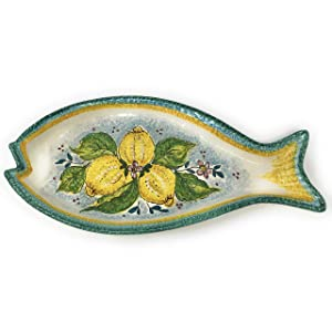 CERAMICHE D'ARTE PARRINI - Italian Ceramic Art Serving Tray Fish Plate Appetizer Pottery Hand Painted Decorated Lemons Made in ITALY Tuscan