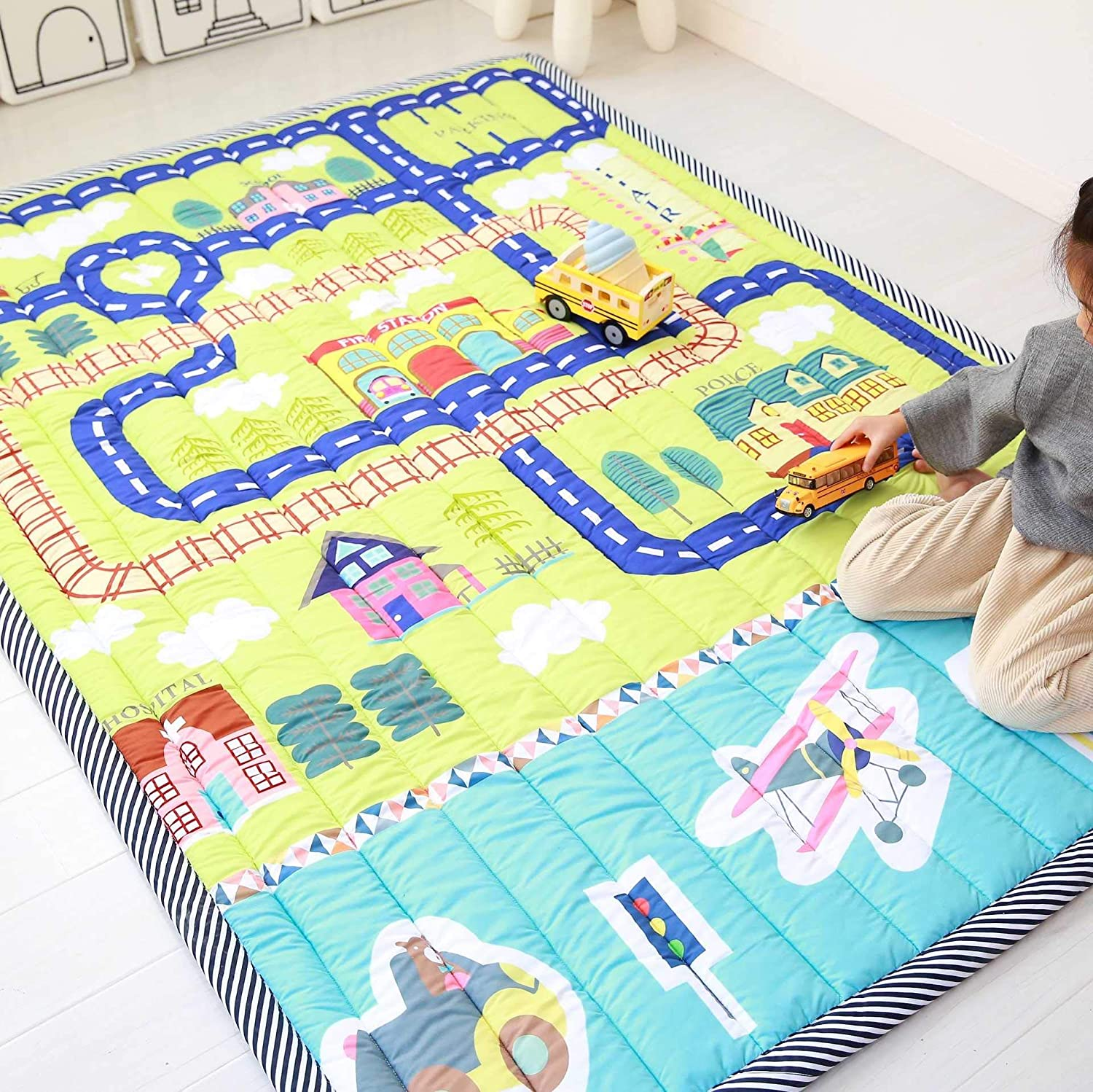 E4 Baby Play Mat Cotton Floor Gym,NonToxic NonSlip Reversible Washable,Numbers Game Crawling Mat, Large