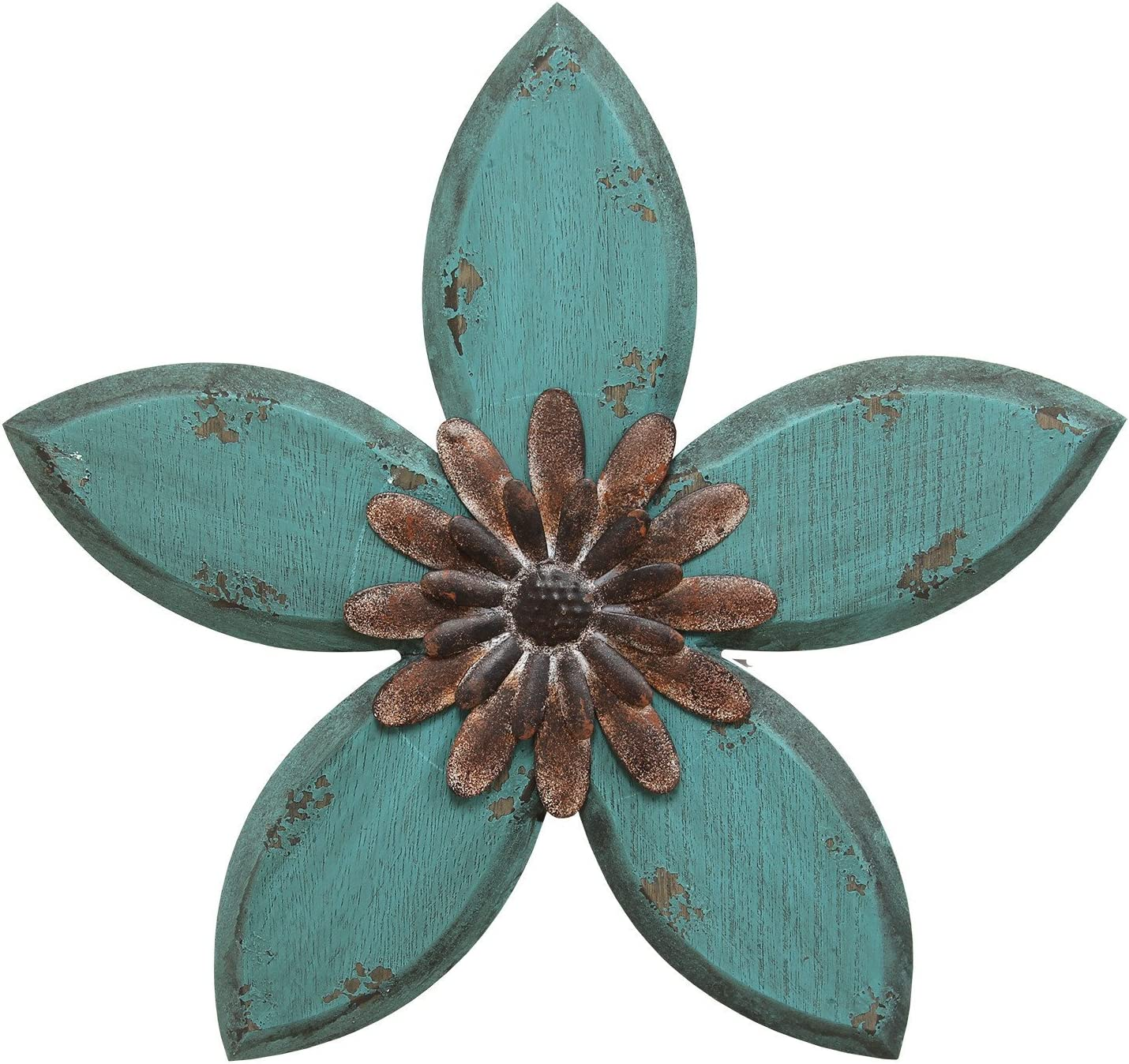 Stratton Home Decor SHD0165 Antique Flower Wall Decor, 14.75 W X 1.18 D X 13.98 H, Teal/Red