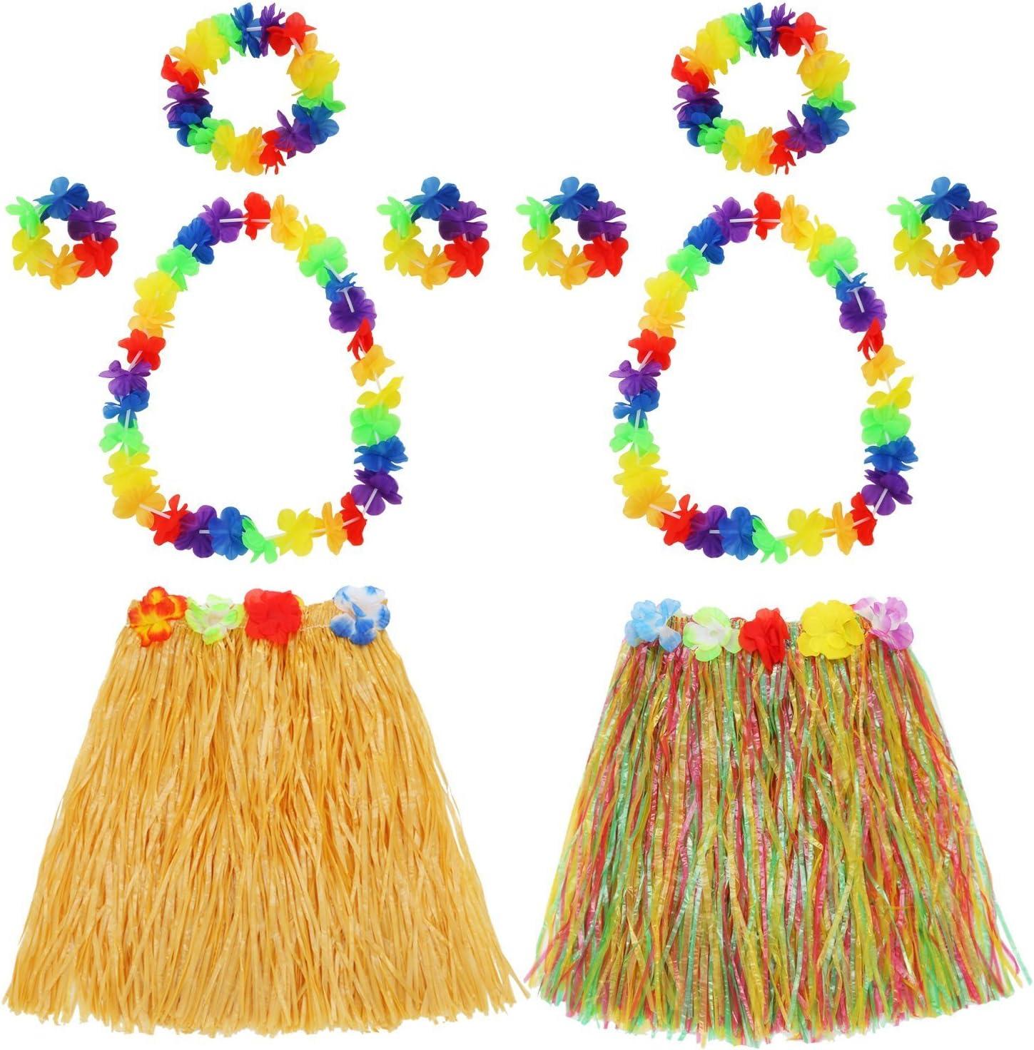HAWAIIAN HULA GRASS SKIRT FLOWER LEIS BRACELETS NECKLACE FANCY DRESS FOUR PIECE
