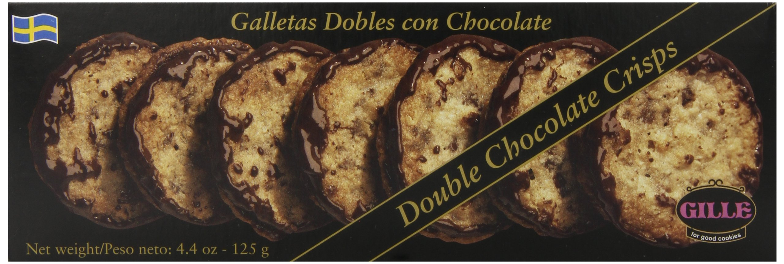 Gille Double Chocolate Cookie Crisps, 4.4 Ounce