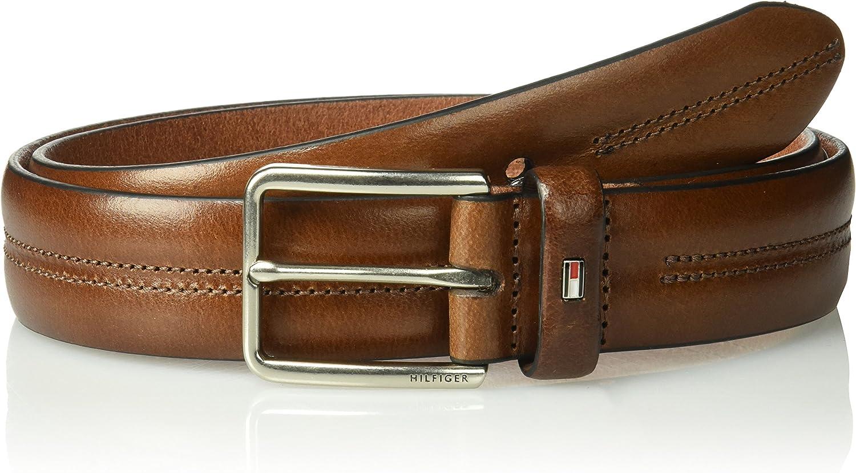 Wide 100/% Leather Center Stitch Belt Tommy Hilfiger mens 1.3 In