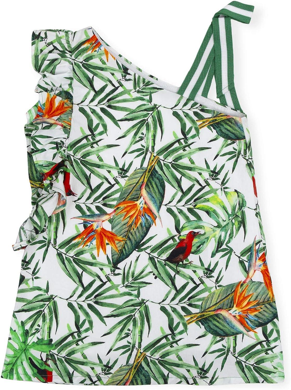 Tutto Piccolo 6246S19 Vestido Ni/ña sin Mangas Algod/ón Estampado Tropical con Hojas y P/ájaros Tallas de 12 Meses a 12 a/ños Color Verde