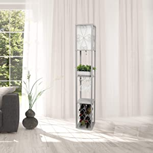 Simple Designs LF1015-GRY Etagere Organizer Storage Shelf and Wine Rack with Linen Shade Floor Lamp, Gray