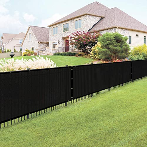 E K Sunrise 4 x 20 Black Fence Privacy Screen, Commercial Outdoor Backyard Shade Windscreen Mesh Fabric 90 Blockage 3 Years Warranty Customized Set of 1
