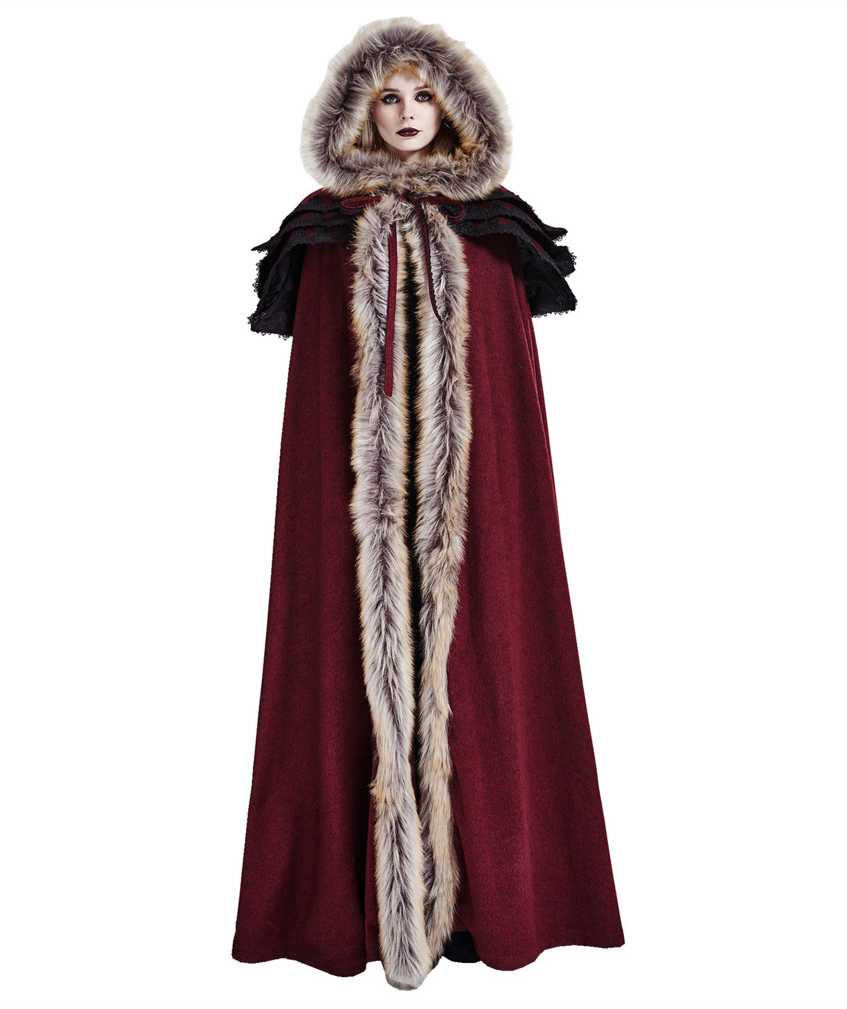 Punk Rave Women's Medieval Fluffy Faux Fur Trimmed Cape Full Length Hooded Cloak Coat(Red) by Punk Rave (Image #1)