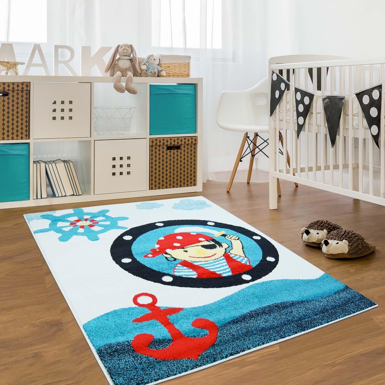 Carpet city Kinder Teppich für Das Kinderzimmer Öko Tex 100 2030 blau lustiger Pirat 160x225 cm