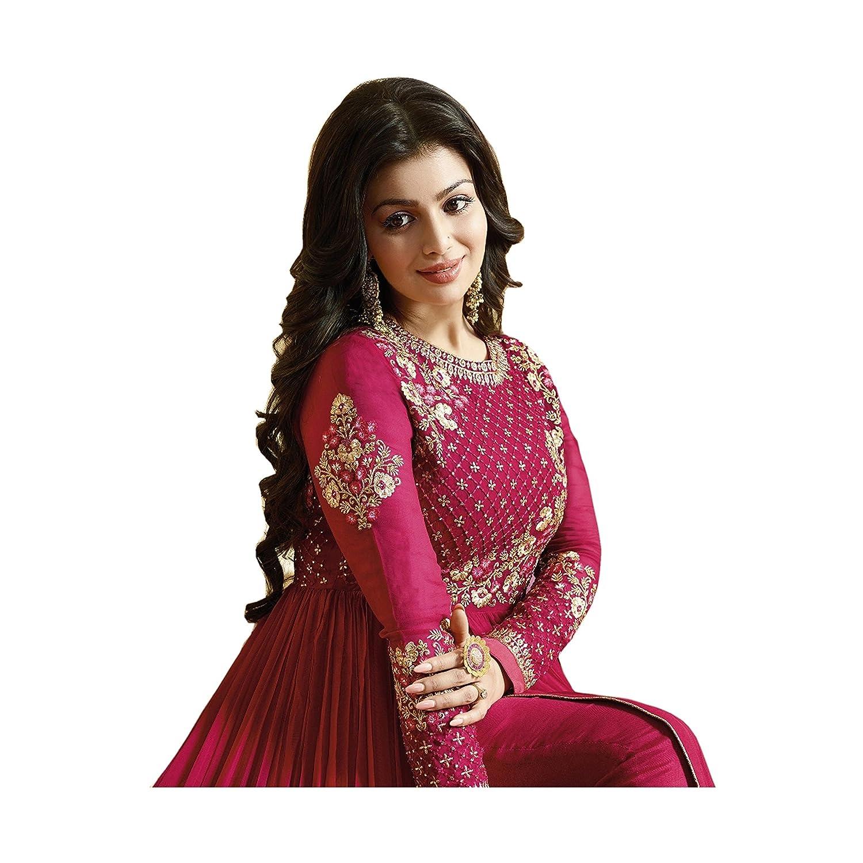 690916a2089 Aryan Fashion Women s Semi-Stitched Georgette Anarkali Salwar Suit Set  (Aryan Er10477 Pink Free Size)  Amazon.in  Clothing   Accessories