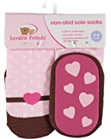 Luvable Friends Baby Girls' Non-Skid Sole Socks