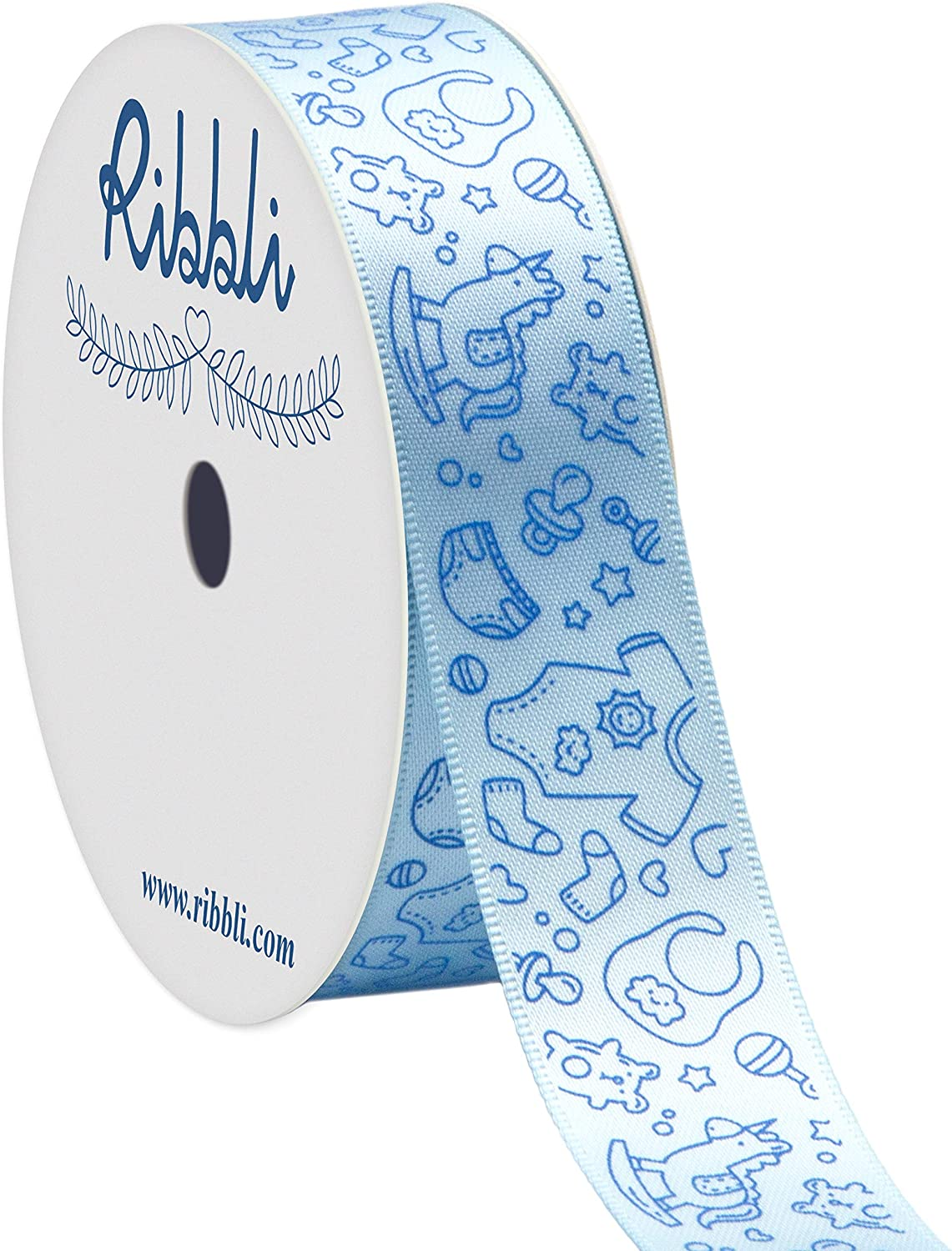 Ribbli Satin Blue Baby Craft Ribbon,7/8-Inch x 10-Yard,Light Blue,Use for Hair Bows,Wreath,Birthday,Baby Shower,Diaper Cake,Gift Wrapping,Party Decoration,All Crafting and Sewing