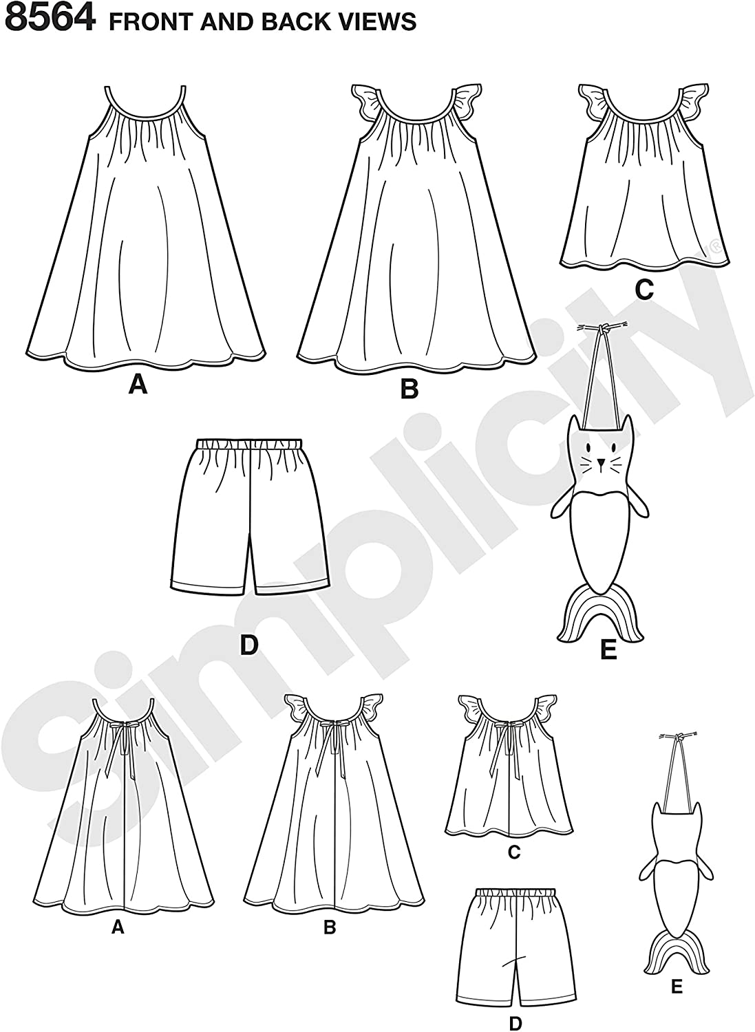 A Childs Dress Top Simplicity Sewing Pattern D0910 // 8564 Shorts and Bag 3-4-5-6-7-8