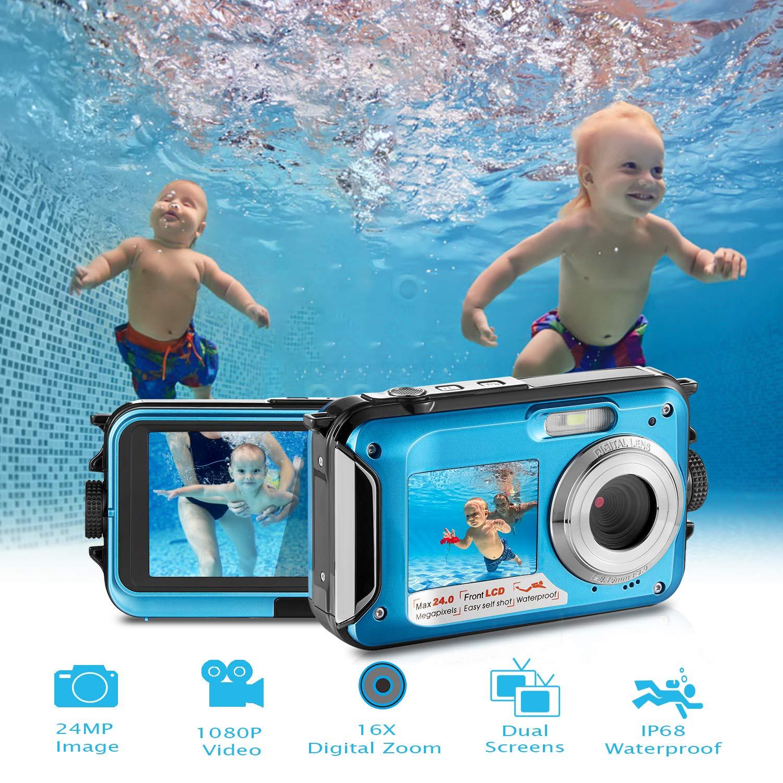 Waterproof Digital Camera Full HD 1080P Underwater Camera 24MP Video Recorder Camcorder Point and Shoot Camera Selfie Dual Screen Waterproof Camera for Snorkeling by HOCOMO (Image #1)