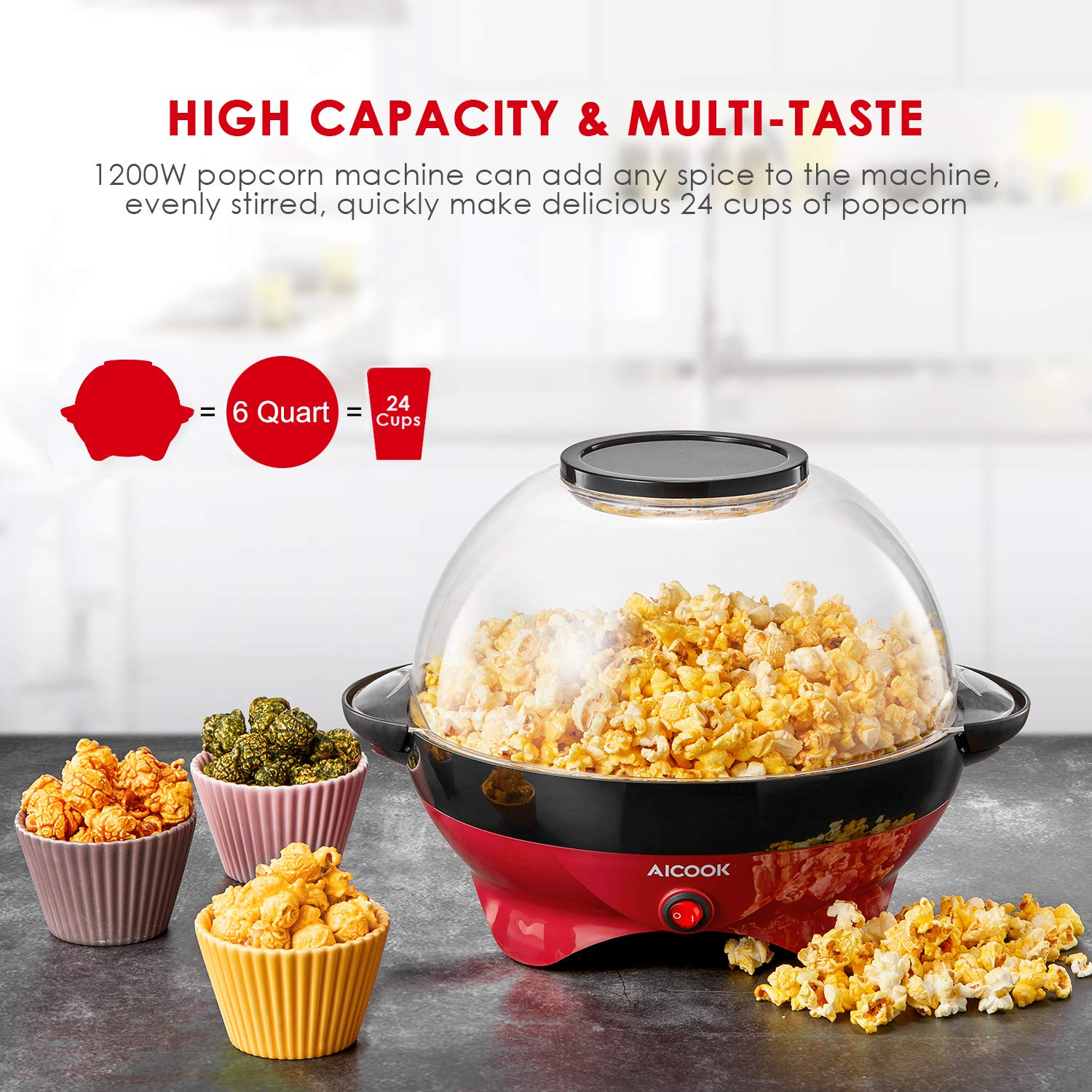 Popcorn Maker, AICOOK Electric Hot Oil Popcorn Popper Machine with Stirring Rod Offers Large Lid for Serving Bowl and Convenient Storage, 6-Quart, Red by AICOOK (Image #2)