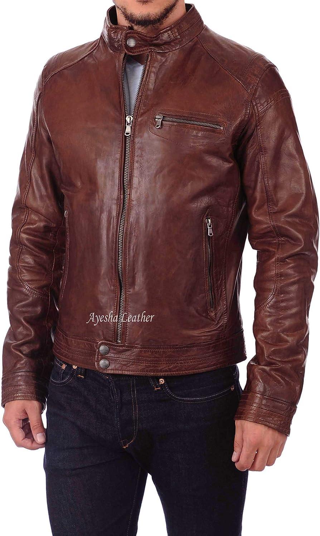 Mens Biker Genuine Leather Jacket Mens Moto Fashionable Real Leather Jacket