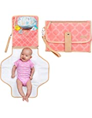 Portable Baby Diaper Changing Clutch Pad for Diaper Bag   Pink   Waterproof Easy Clean Liner & Head Cushion   Travel Organizer with Stroller Strap   Girl
