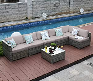 Tribesigns 7 Pieces Outdoor Patio Furniture Set, Extra Large Sectional Sofa Wicker Rattan Couch Conversation Set with Waterproof Cushions for Garden, Porch, Backyard, Lawn, Poolside (Gray)