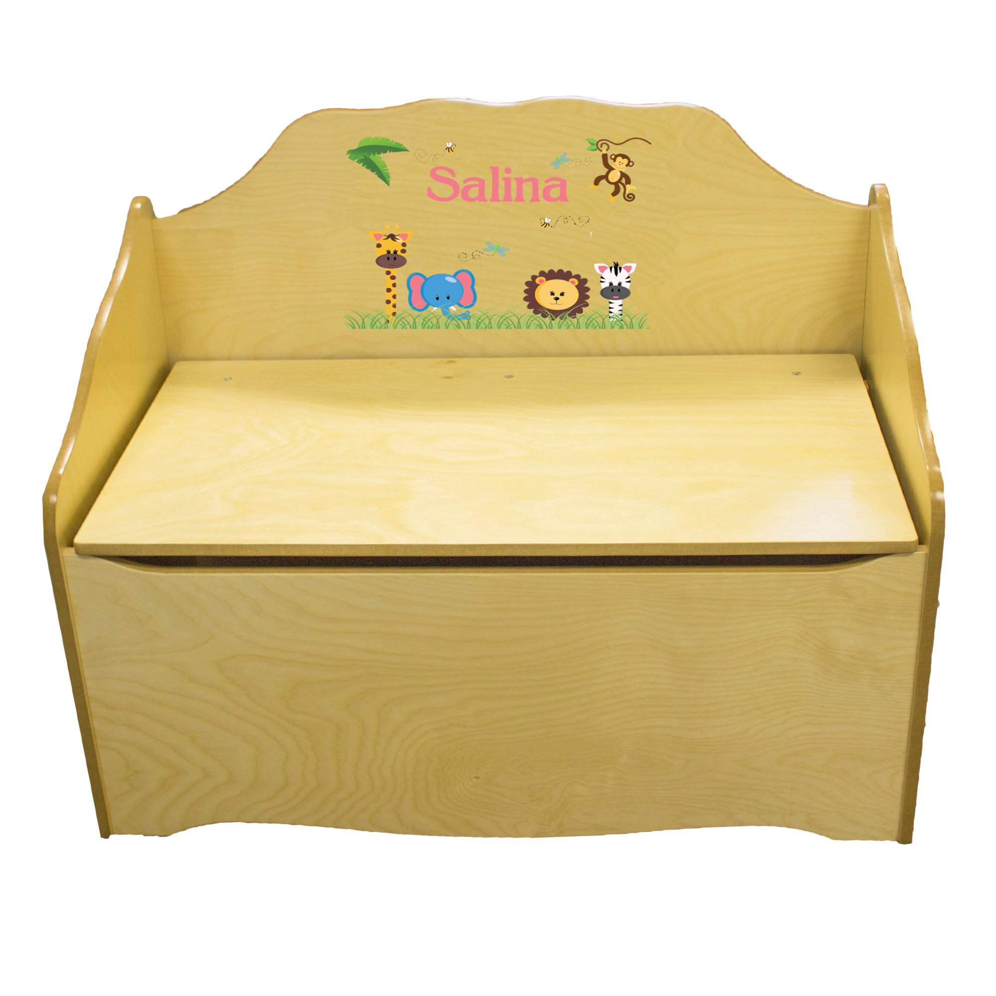 Personalized Jungle Animals Girl Childrens Natural Wooden Toy Chest