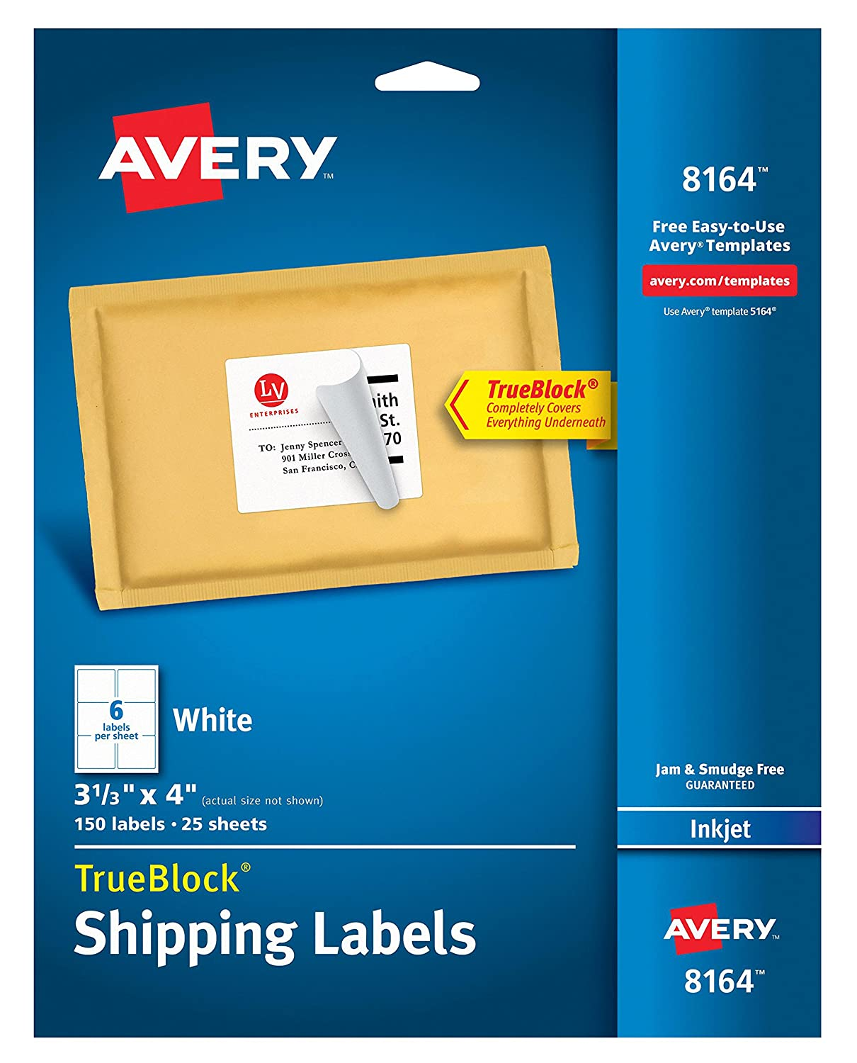 Avery Shipping Labels with TrueBlock Technology for Inkjet Printers 2 x 4, Pack of 250 (8163)
