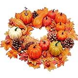 Thanksgiving Artificial Pumpkins Home Decoration 72 PCS, 12 Lifelike Pumpkins 12 Fake Acorns 6 Pinecones 42 Maple Leaves…