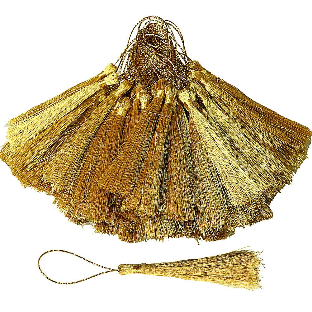 EUBags 100pcs Gold Craft Tassels, 5 Inch Mini Silky Floss Bookmark Tassels with Loops for Jewelry Making, Handmade DIY Projects, Souvenir