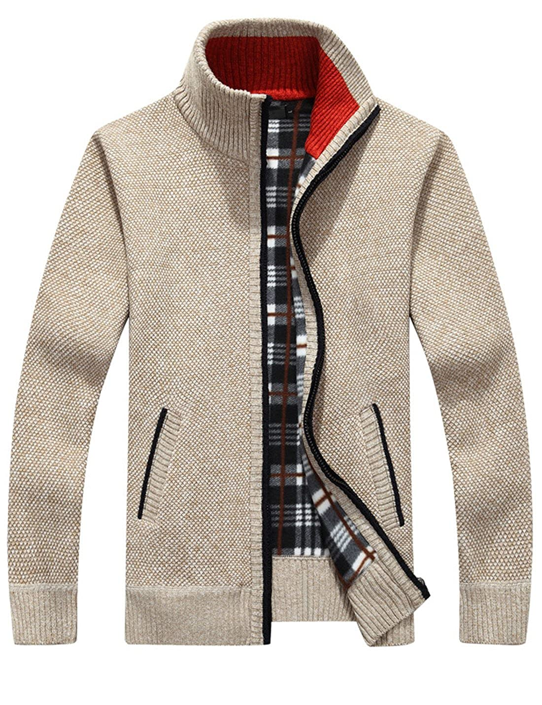 95e8bfbd9e0 Yeokou Men s Casual Slim Full Zip Thick Knitted Cardigan Sweaters with  Pockets at Amazon Men s Clothing store