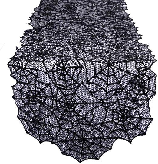 aerwo negro camino de mesa de encaje tela de araña para Halloween ...