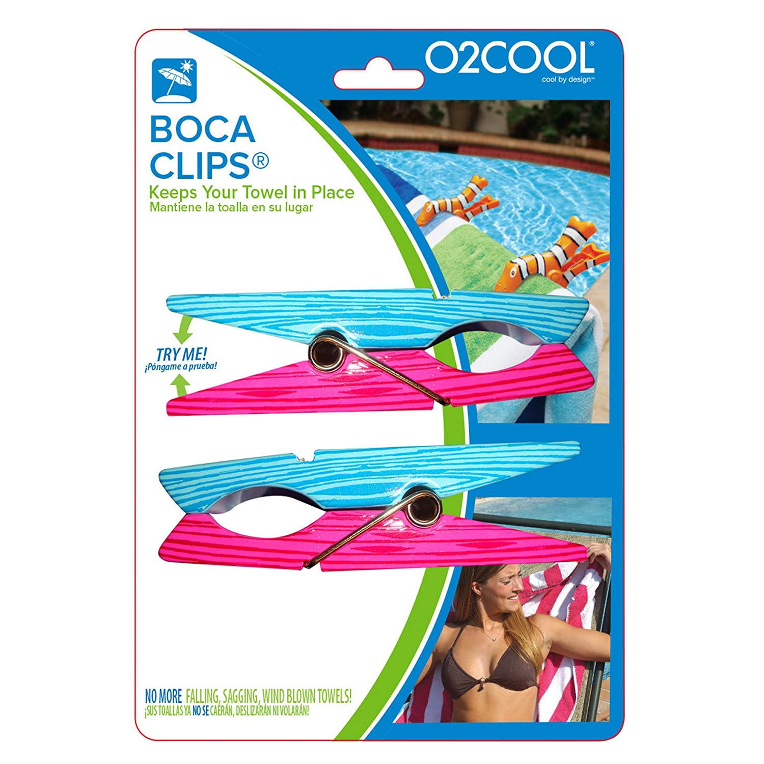 Amazon.com: Clothes Pin BocaClips by O2COOL, Beach Towel Holders, Clips, Set of two, Beach, Patio or Pool Accessories, Portable Towel Clips, Chip Clips, ...