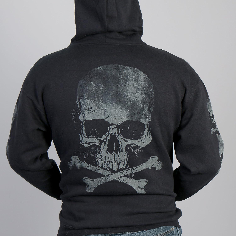 Black, XXX-Large Hot Leathers Mens Skull and Crossbones Zip-Up Hooded Sweatshirt