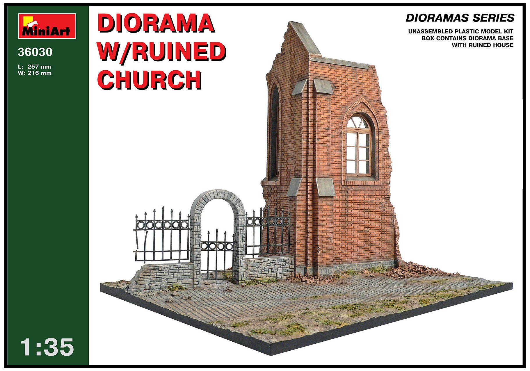 MiniArt 1:35 Scale Diorama with Ruined Church Plastic Model Kit (Grey)