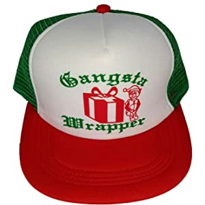 fe7fc7dab6b Gangsta Wrapper Elf Mesh Trucker Hat Cap Snapback Ugly Sweater Party  Christmas X Mas