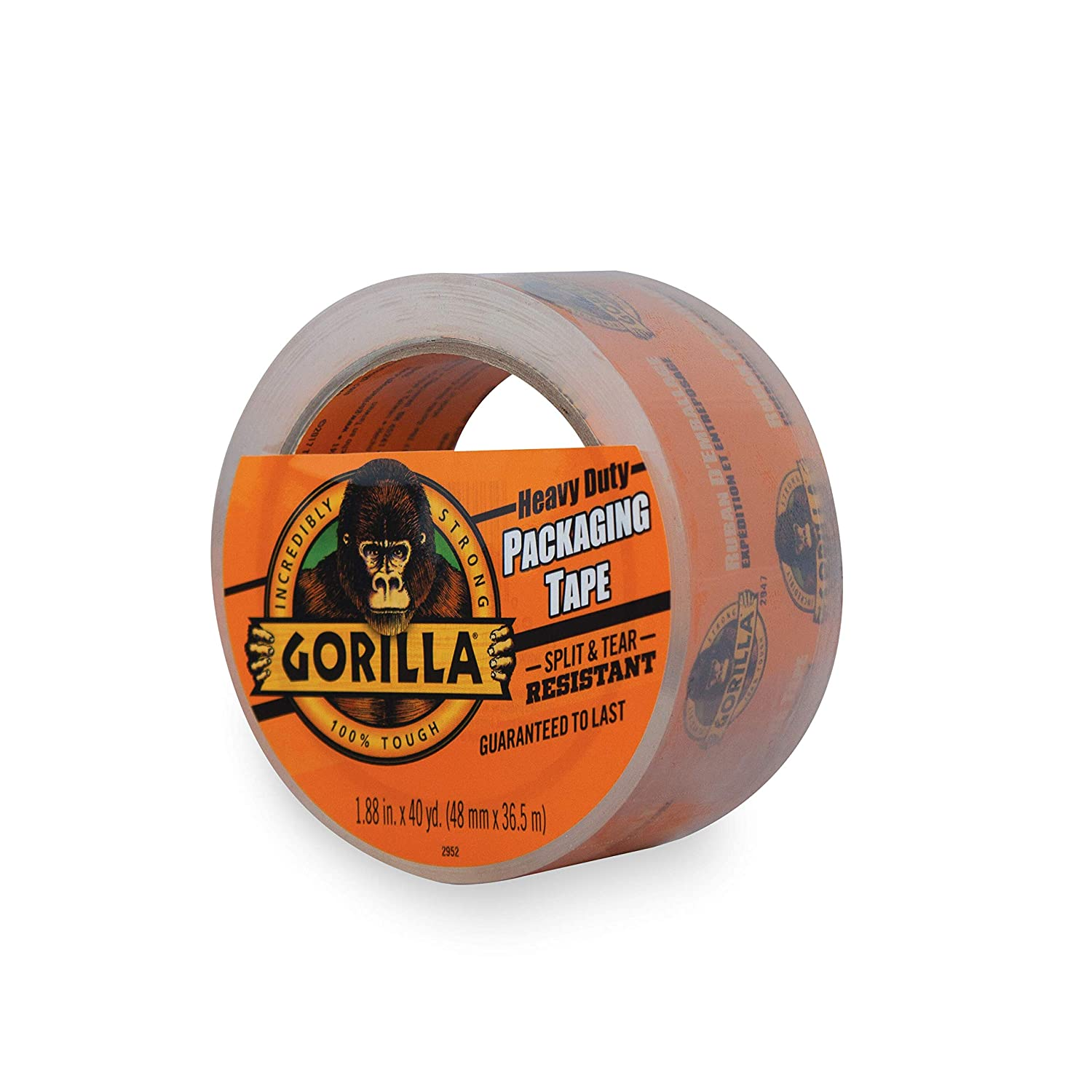 Gorilla Heavy Duty Large Core Packing Tape for Moving, Shipping and Storage, 1.88 x 40 yd, Clear, (Pack of 1) 1.88 x 40 yd The Gorilla Glue Company 6042502