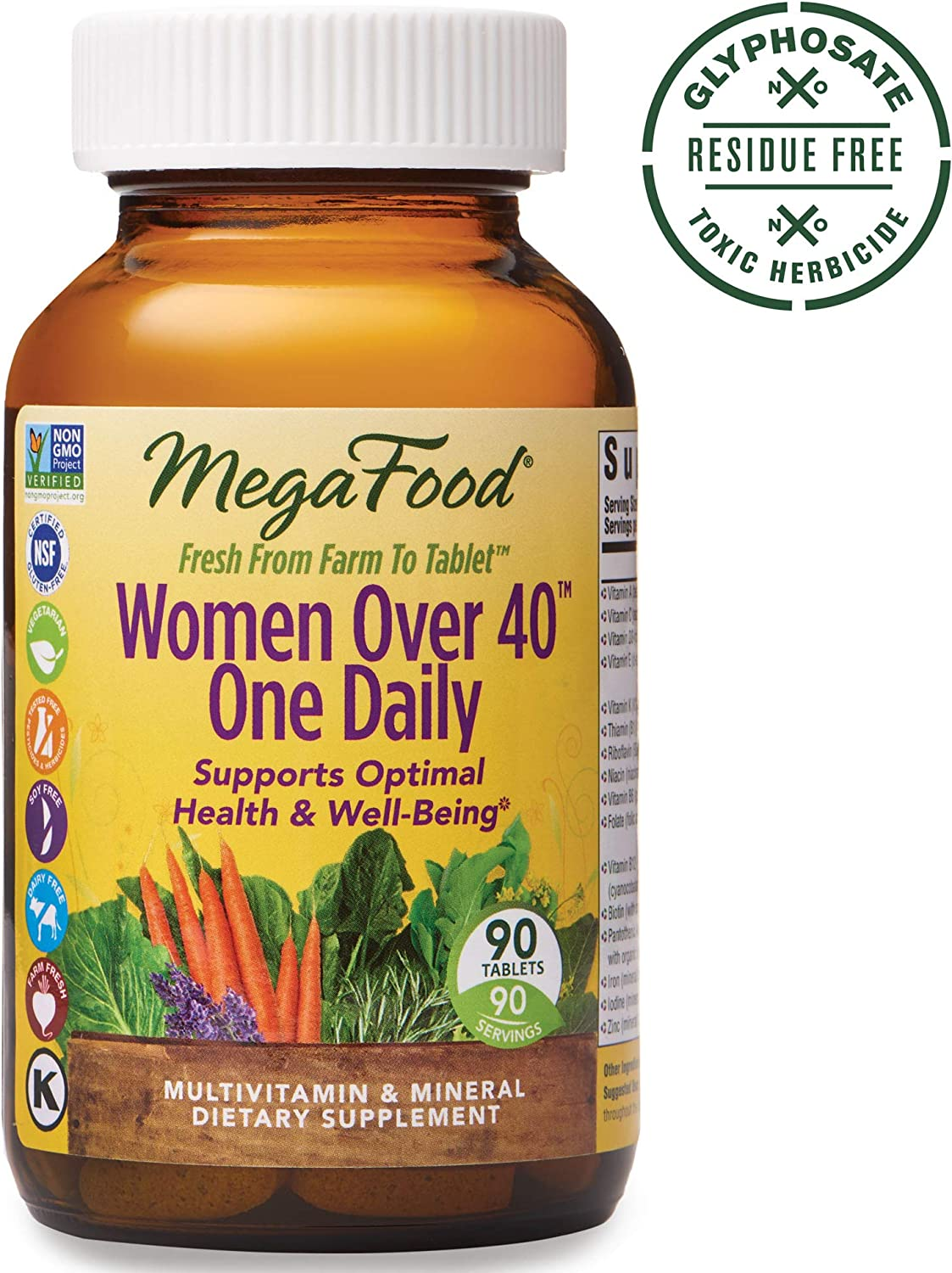 MegaFood, Women Over 40 One Daily, Daily Multivitamin and Mineral Dietary Supplement with Vitamins C, D, Folate, Biotin and Iron, Non-GMO, Vegetarian, 90 Tablets (90 Servings) (FFP)