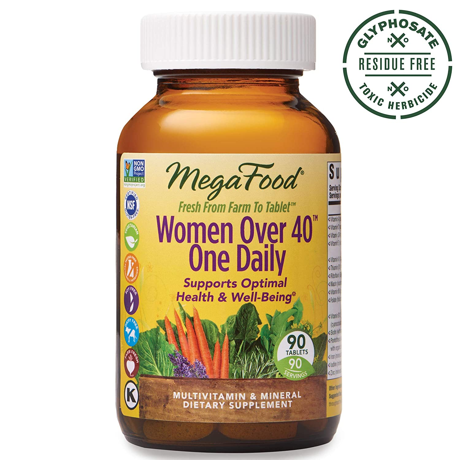 MegaFood, Women Over 40 One Daily, Daily Multivitamin and Mineral Dietary Supplement with Vitamins C, D, Folate, Biotin and Iron, Non-GMO, Vegetarian, 90 Tablets 90 Servings FFP