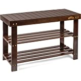 Homemaid Living Bamboo 3 Tier Shoe Rack Bench, Premium Shoe Organizer or Entryway Bench, Perfect for Shoe Cubby, Entry Bench,