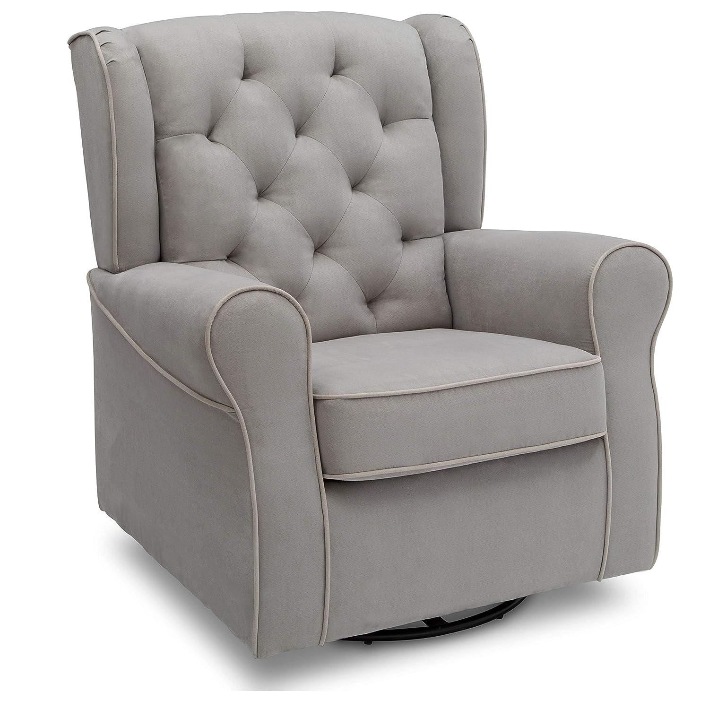 Delta Children Emerson Upholstered Glider Swivel Rocker Chair Dove Grey With Soft Grey Welt Baby