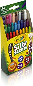 Crayola Silly Scents Twistables Crayons, 24 Classic Crayola Colors Non-Toxic Art Tools for Kids 3 & Up, Scented Self-Sharpening No Mess Twist-Up Crayons, Great for Kids Classrooms or Preschools