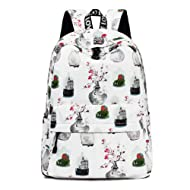 Leaper College Bookbag Travel Daypack Laptop Backpack Girls School Bags White