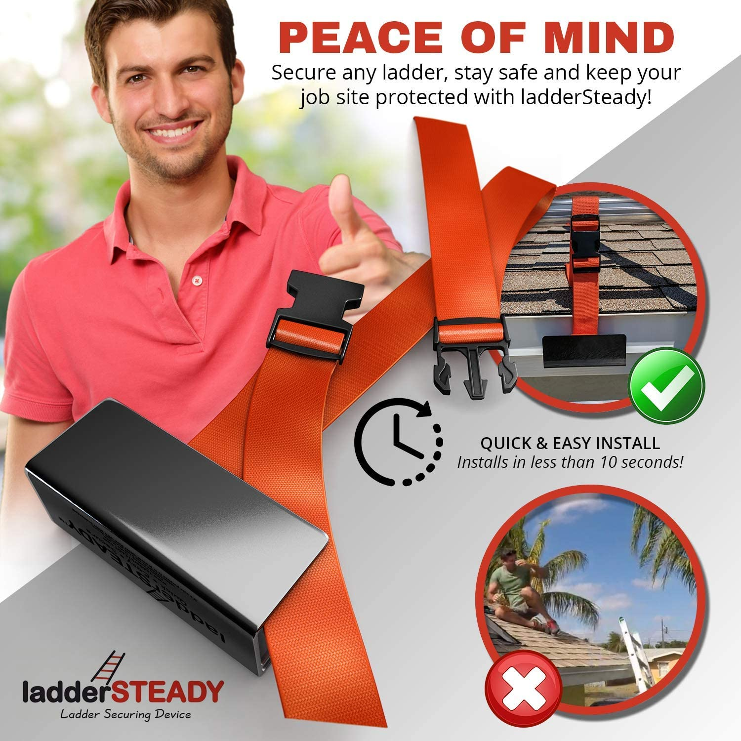 Contractors and Roof Work Quick and Easy Installation Lockdown Clamp Cleaning Gutters and Windows Ladder Securing Device ladderSTEADY Adjustable Stabilizer Strap with Uni-Clip Safety Bracket