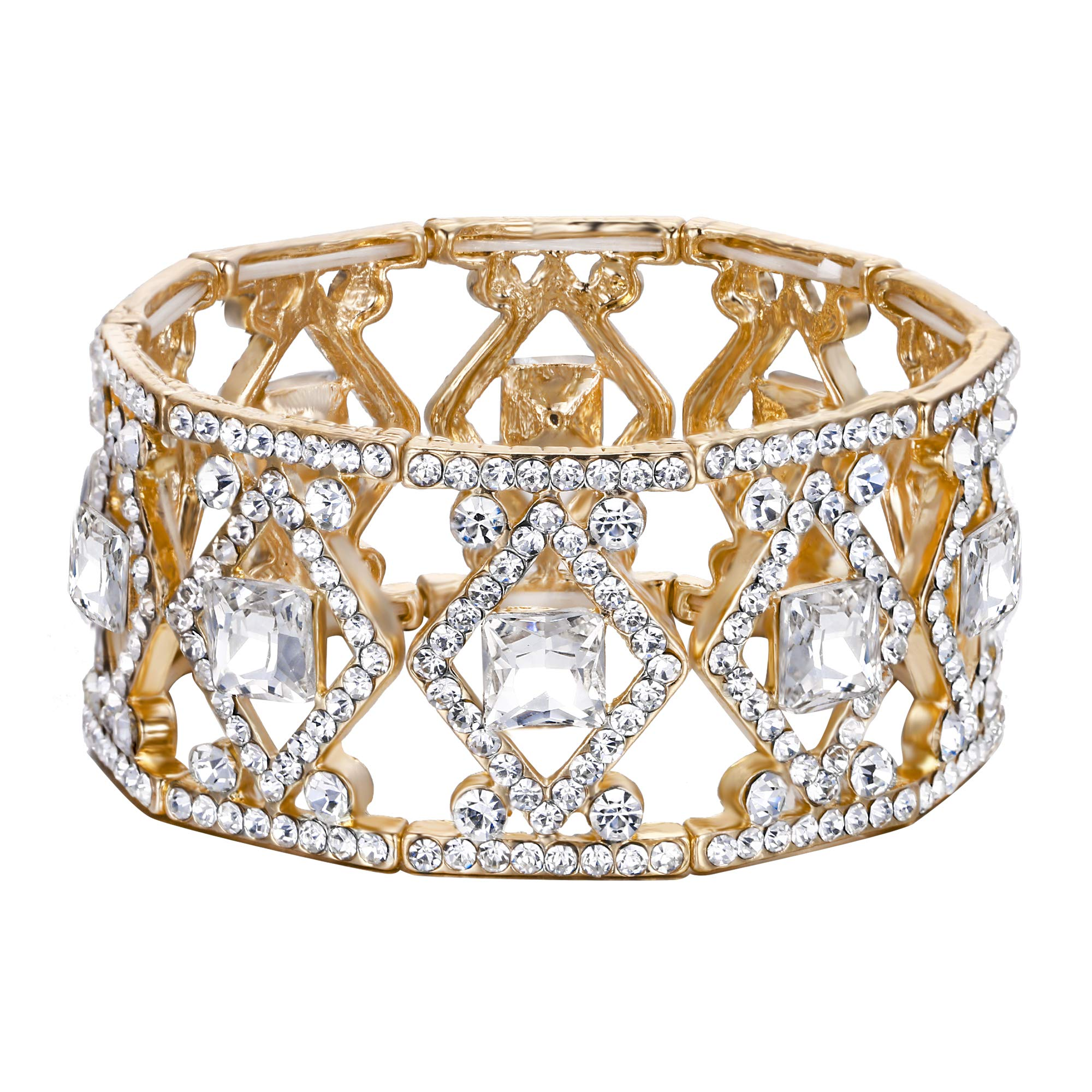 BriLove Women's Wedding Bridal Crystal Art Deco Square Framed Tennis Stretch Bracelet Clear Gold-Toned by BriLove