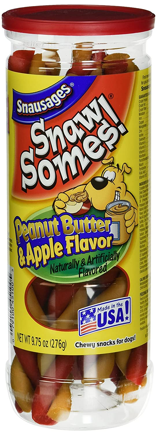 Snausages Snawsomes Dog Treats, Peanut Butter and Apple, 9.75-Ounce (Pack of 10)