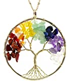 """Tree of Life Wire Wrap 7 Chakra Gemstone Necklace on 30"""" Chain"""