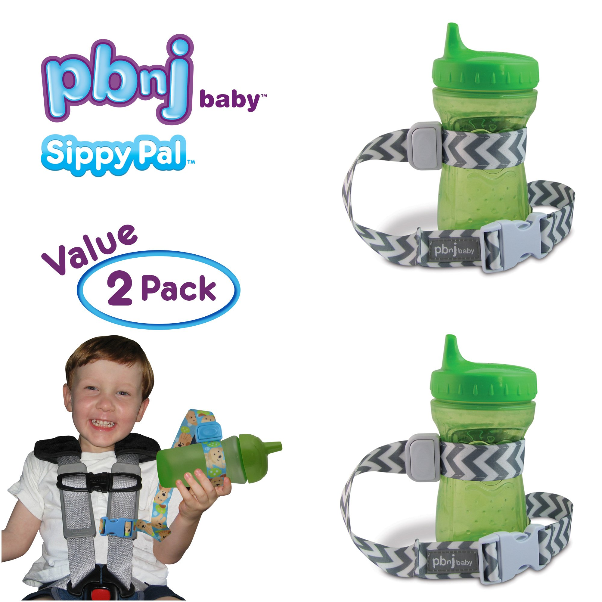 PBnJ Baby SippyPal Sippy Cup Holder Strap Leash Tether (Gray Chevron 2-Pack)
