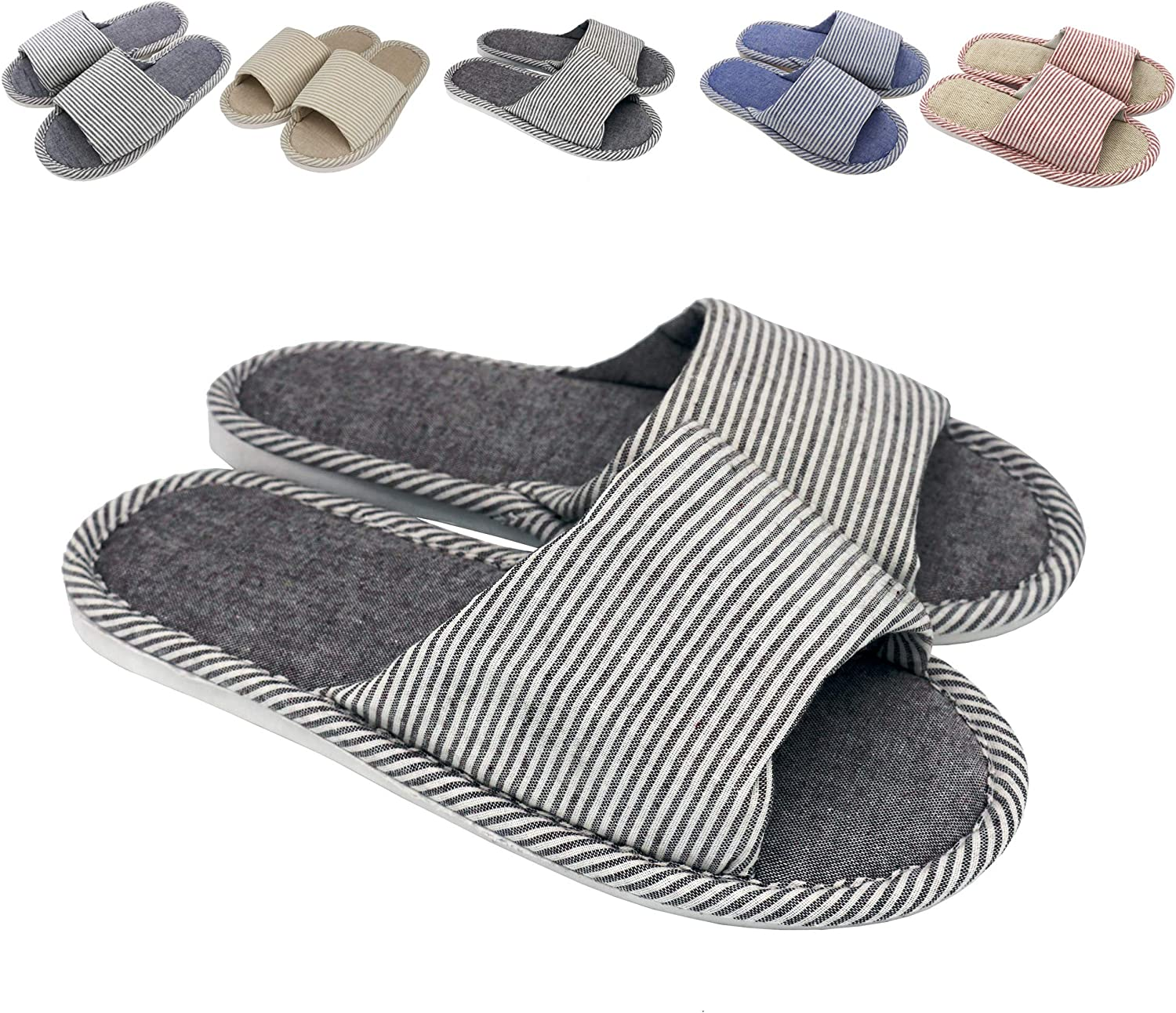 zisheng Women's and Men's Couple Slippers Cotton Flax Casual Memory Foam Open Toe Slippers Super Soft Light Comfortable and Breathable House Slippers Anti-Slip for Indoor and Outdoor