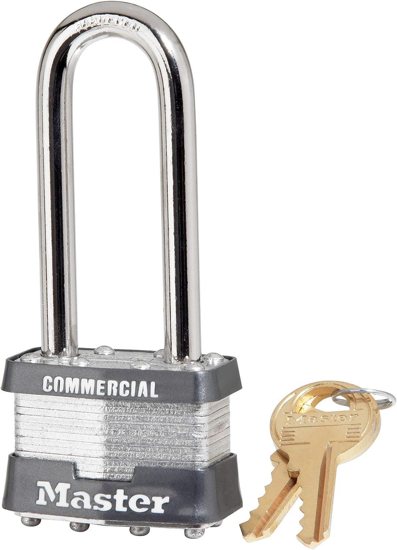 BRINK/'S 44mm ADJUSTABLE AND REMOVABLE SHACKLE LAMINATED STEEL PADLOCK 1-3//4/'/'