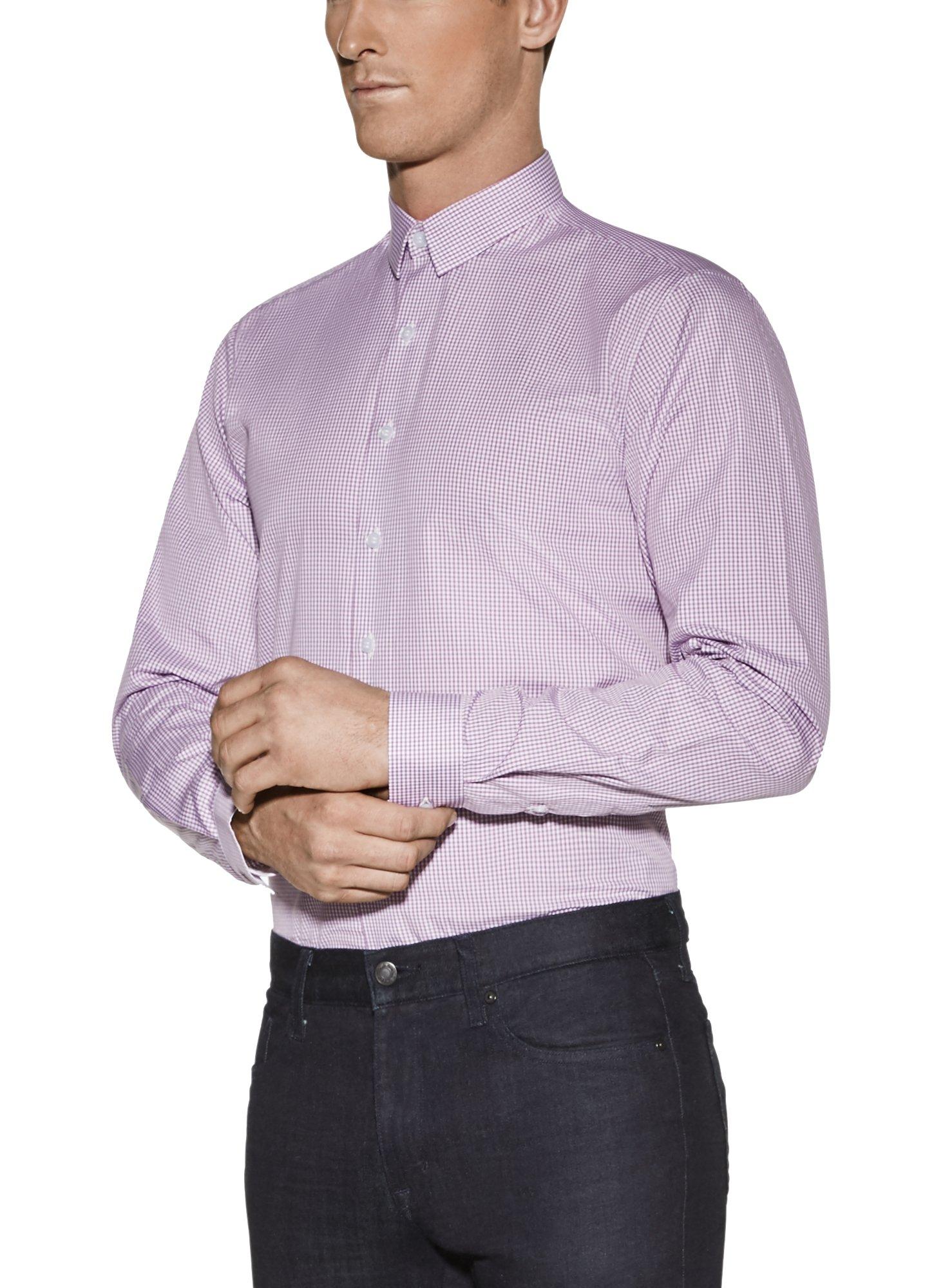 Vardama Men's Gingham Checks Performance Dress Shirt Bethesda With Sweat Resistant Technology (Large) by Vardama