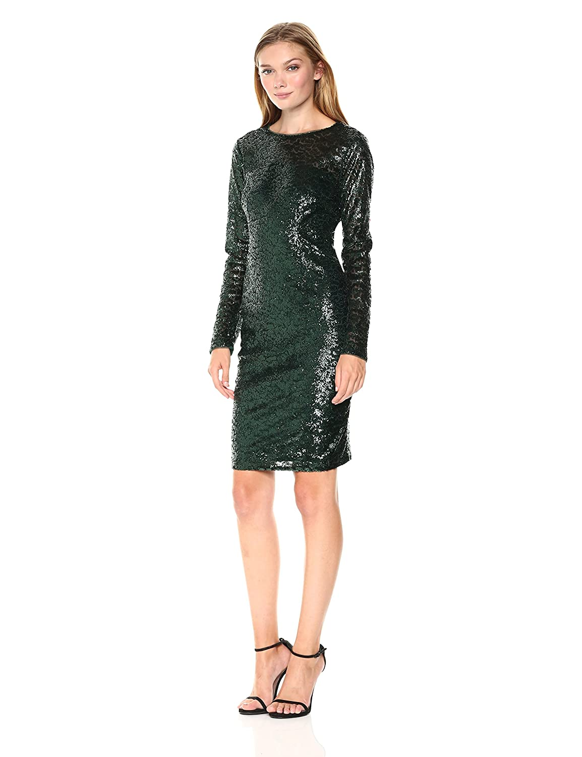 56b32a3d Carmen Marc Valvo Infusion Women's L/s Allover Sequin Sheath Cocktail Dress  at Amazon Women's Clothing store: