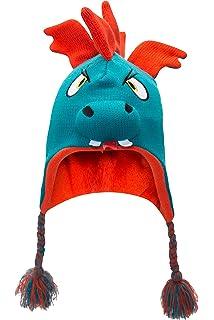 454dc8fb88f4 Mountain Warehouse Bonnet Garçon Hiver Enfant péruvien Junior bébé Animaux  Amusant et Rigolo Dino Bleu Cobalt ...