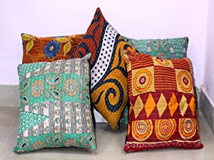 MyCrafts Indian Hand Made Kantha Throw Cushion Cover Indian Home Decor Pillow Cases Indian Decorative Cushion Cover Indian Floral Print Cushion Cover Designer Toss Cover Bed Decor Sofa Cover 5pc Lot