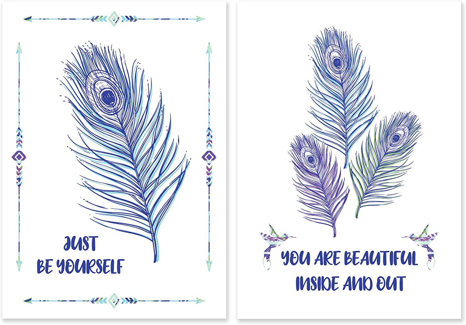 "SCENE: YOURSELF Peacock Decor, Peacock Wall Decor, Peacock Gifts, Peacock Wall Art, Peacock Bathroom Decor, 11.7"" x 16.5"", Unframed, Paper, Matte Lamination, Set of 2 Posters, Peacock"