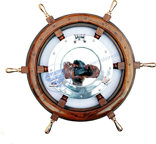 Nagina International 24 Nautical Wooden Ship Wheel with Brass Handles 10 Aluminum Porthole Mirror Pirate s Boat Decor